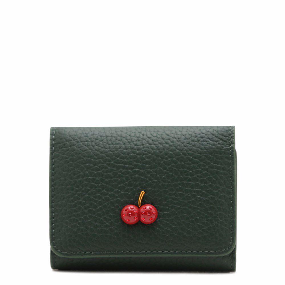 021786 Візитниця жіноча No brand, зелена, натуральна шкіра