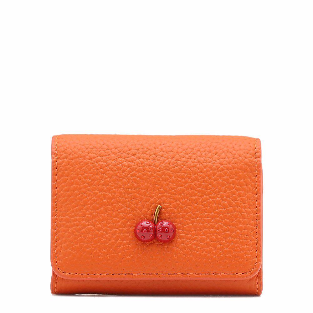 021785 Візитниця жіноча No brand, помаранчева, натуральна шкіра