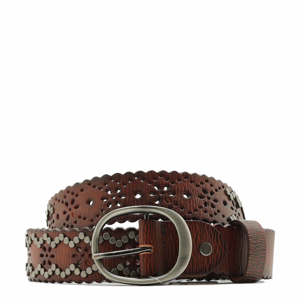018181 Ремінь жіночий No brand, коричнева, натуральна шкіра