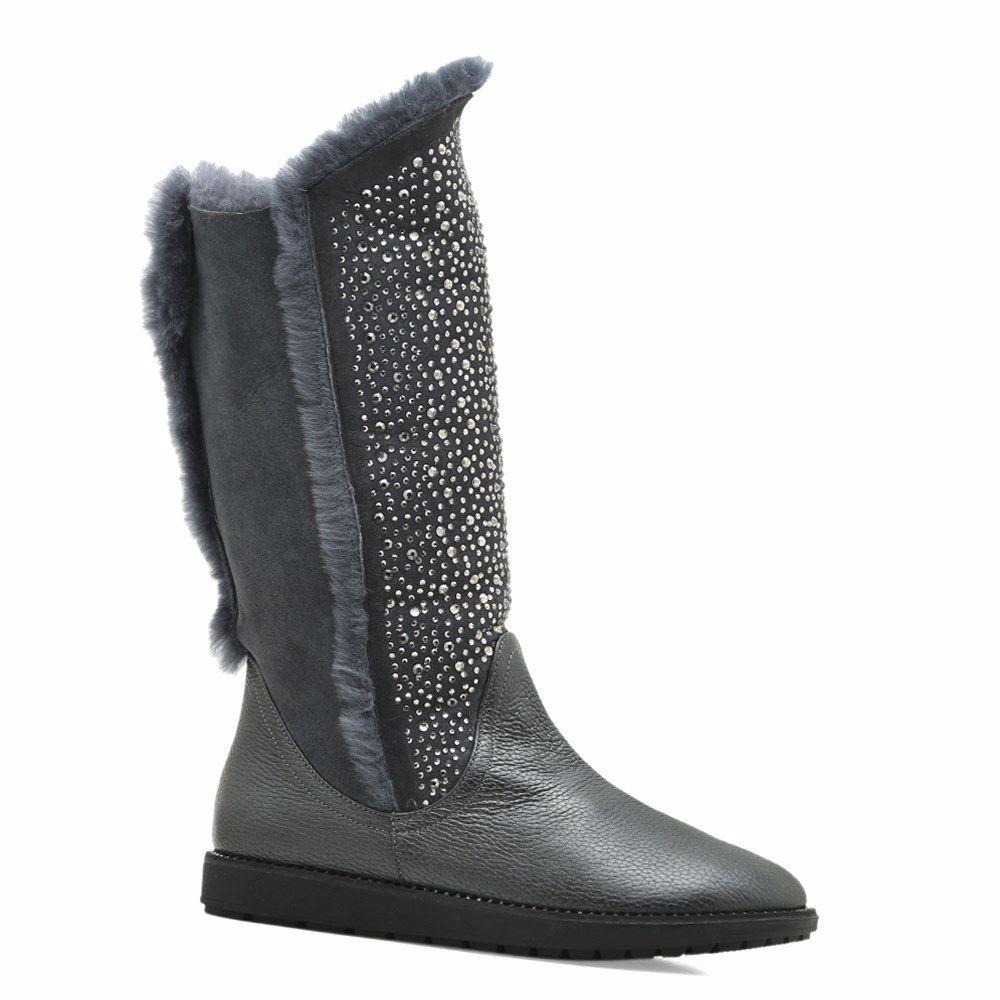 Купить Женская обувь, Сапоги зимние на низком ходу, Prego, серый