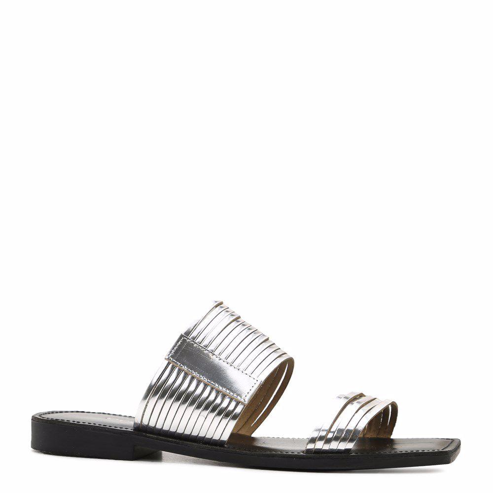 Купить Женская обувь, Шлепанцы на низком ходу, Prego, серебро