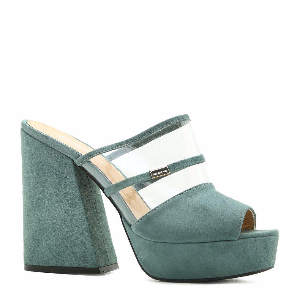 Купить Женская обувь, Шлепанцы на каблуке, Prego, бирюзовый