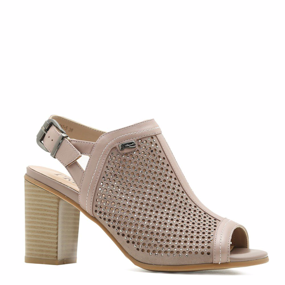 Купить Женская обувь, Босоножки на каблуке, Prego, беж с розовым оттенком