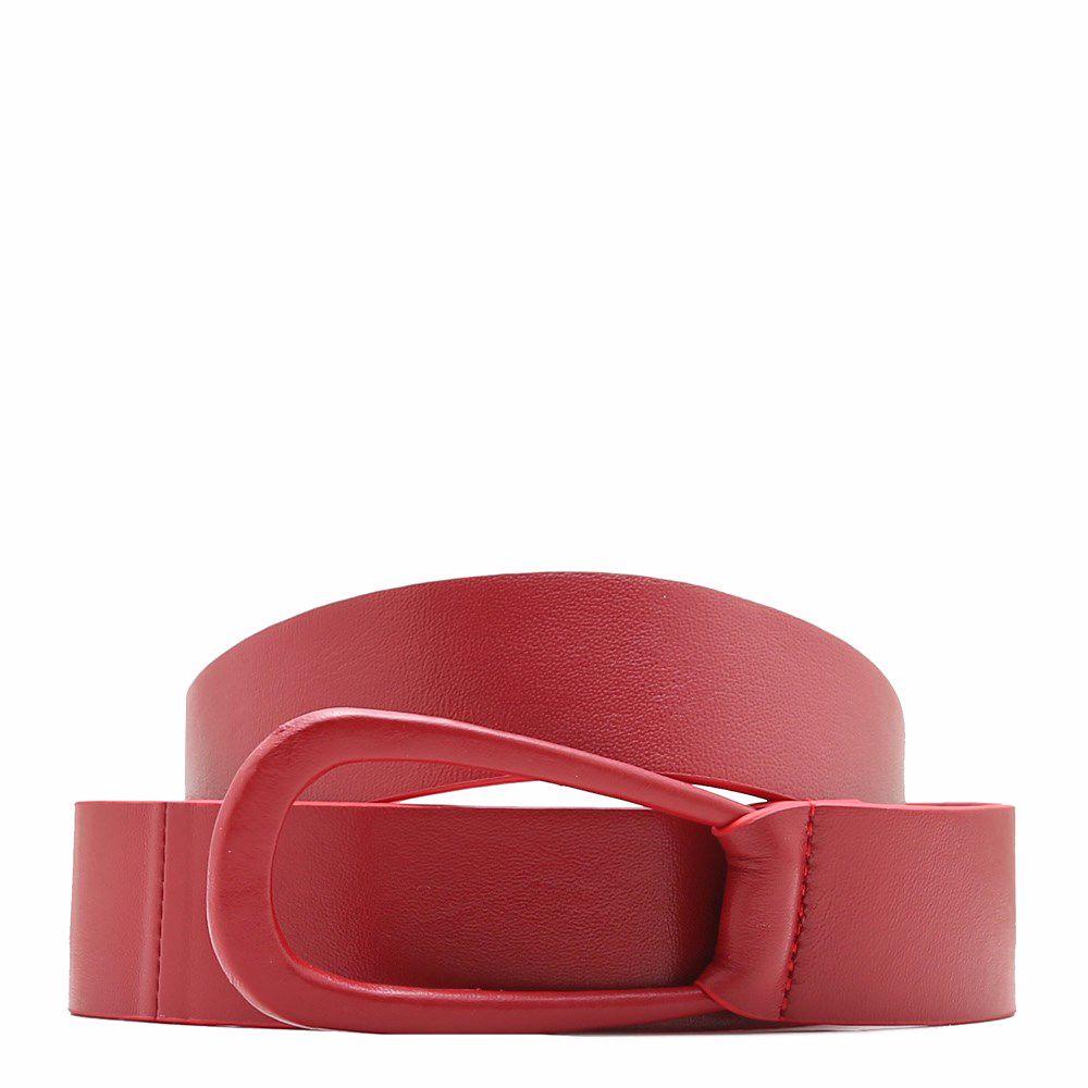 020476 Ремінь жіночий No brand, червона, натуральна шкіра