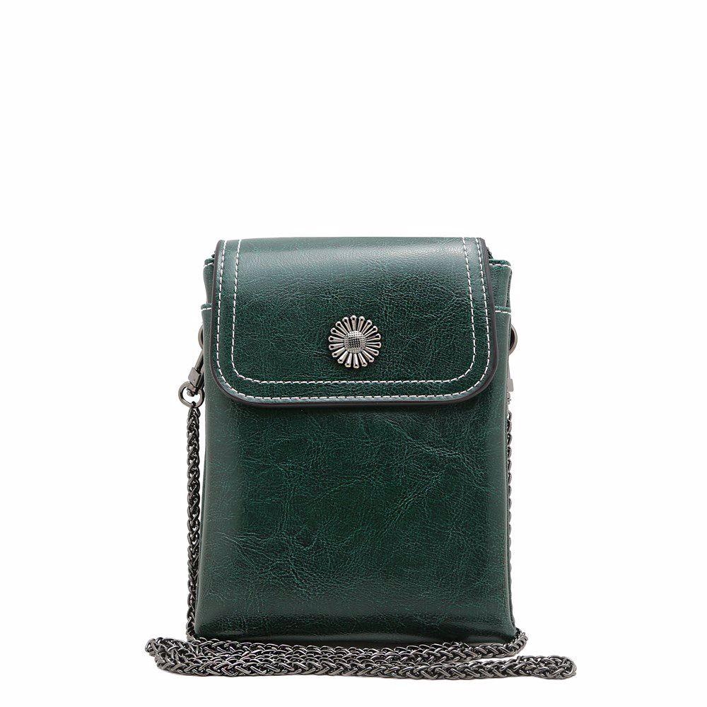 021818 Сумка-почтальонка Balina, зелена, натуральна шкіра