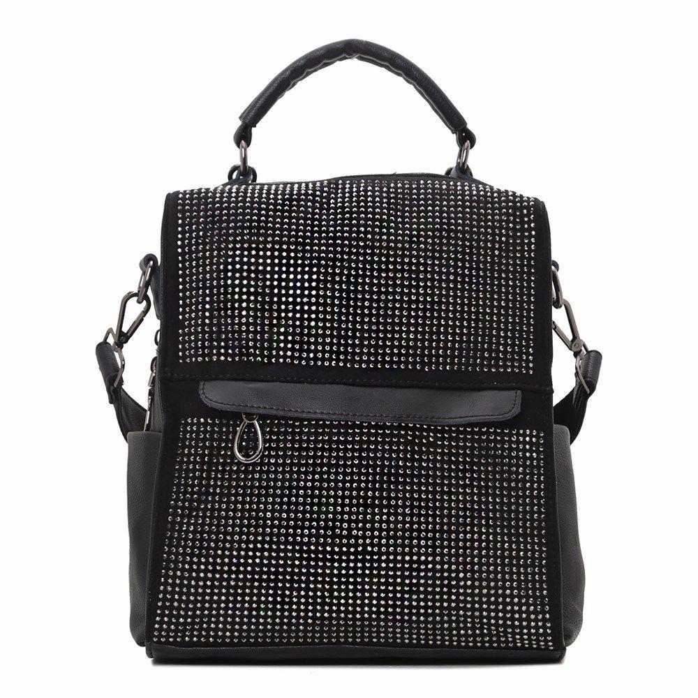 019156 Рюкзак жіночий SAVENO, чорна, екошкіра