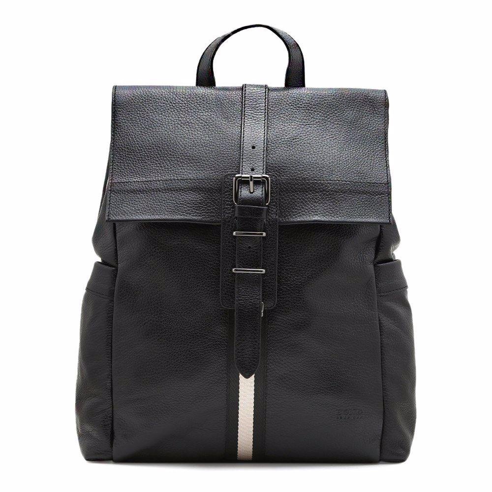 014582 Рюкзак чоловічий з натуральної шкіри Bond, чорна, натуральна шкіра