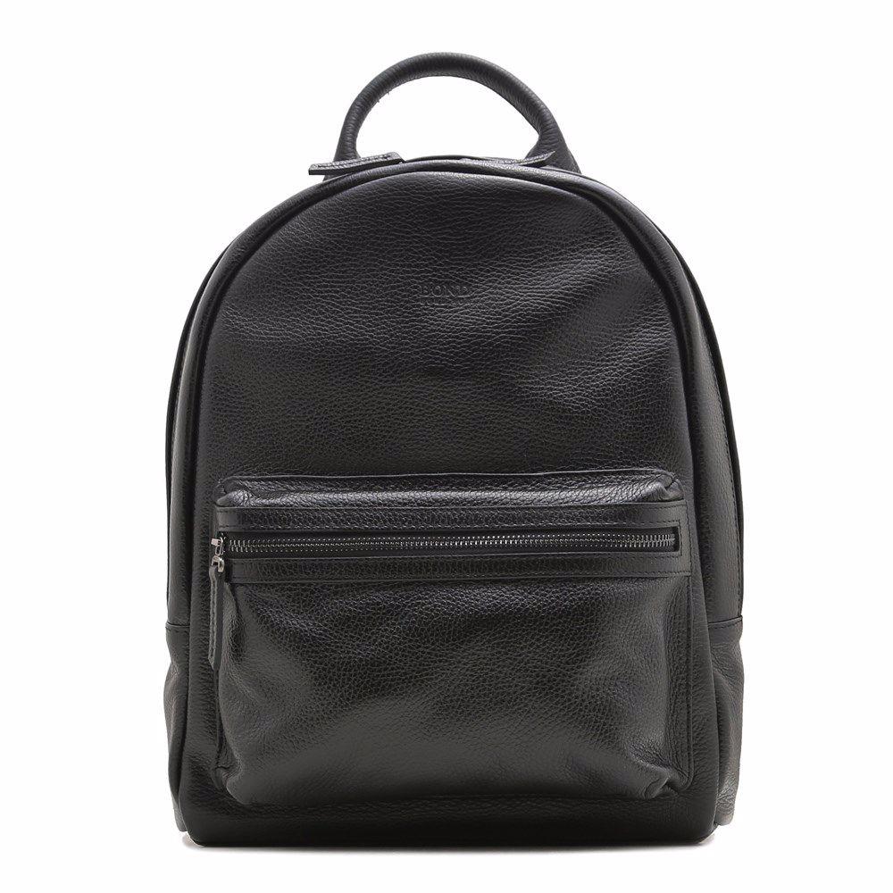021113 Рюкзак чоловічий з натуральної шкіри Bond, чорна, натуральна шкіра
